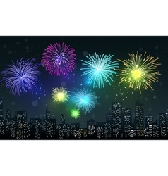 Fireworks on city night scene vector image