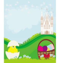 Easter landscape with eggs flowers butterflies and vector