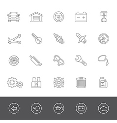 Line icons car maintenance vector