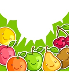 Background with cute kawaii smiling fruits vector