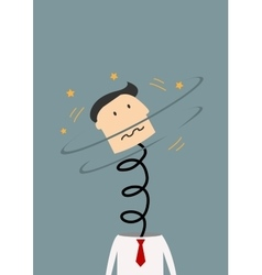 Businessman spinning his head with spring neck vector