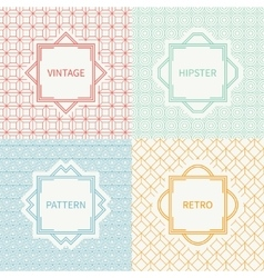 Set of mono line polygon hipster seamless pattern vector