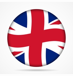 Button with waving flag of uk vector