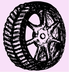 Car wheel tire vector