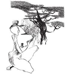 Art of Line Art - Naked woman vector image