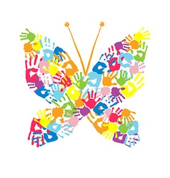 Butterfly of the handprints of children vector