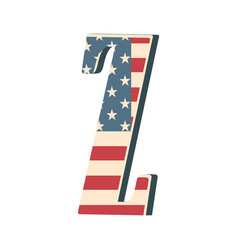 Capital 3d letter z with american flag texture vector