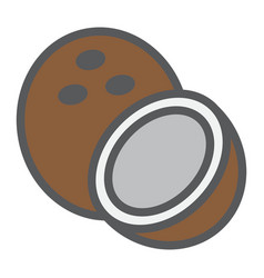 coconut line icon fruit and tropical vector image