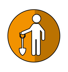 Construction worker with shovel avatar vector