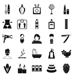 Cosmetology icons set simple style vector