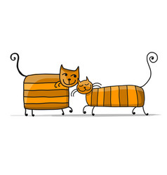 cute striped cats sketch for your design vector image vector image