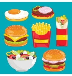 Fast food menu set vector image vector image