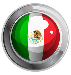 Flag of mexico on round badge vector