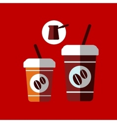Flat cartoon takeaway coffee cups vector image