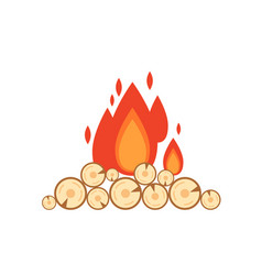 flat style of bonfire isolated vector image