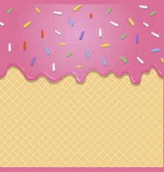 Flowing pink glaze on wafer texture seamless vector image