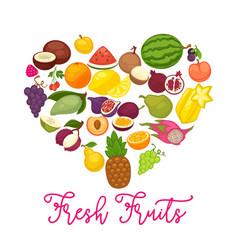 fresh organic fruits and natural berry food farm vector image vector image