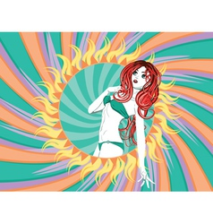 Girl in green bikini with red hair vector image vector image