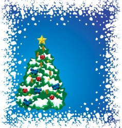 holiday tree with snow frame vector image vector image