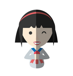 Japanese girl student uniform shadow vector