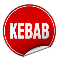 Kebab round red sticker isolated on white vector