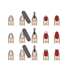 Manicure process icons set different nail vector