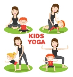 Mother child yoga 4 icons set vector