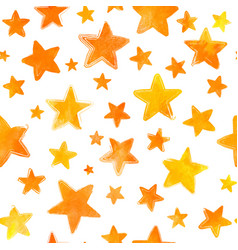 orange watercolor painted stars on white vector image