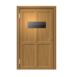 Realistic wood door with blanc black plate vector
