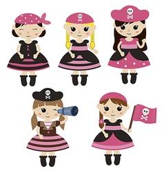 Set of cute cartoon girl pirates vector image