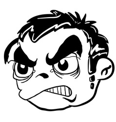 simple balck and white angry boy head vector image