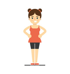 sporty smiling girl in sportswear doing gymnastics vector image