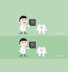 Tooth cartoon male dentist hold dental x-ray film vector
