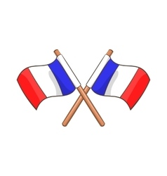 Two crossed flags of france icon cartoon style vector