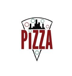 urban pizza slice design template vector image vector image