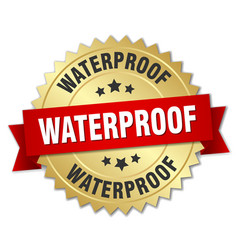 Waterproof round isolated gold badge vector