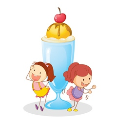 girls and ice cream vector image
