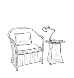 Hand drawn room interior chair and lamp vector