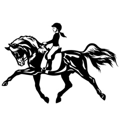 Little girl riding horse vector
