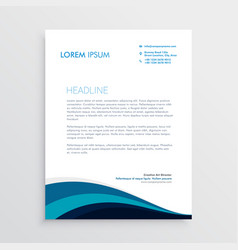 Stylish letterhead design with blue wavy shapes vector