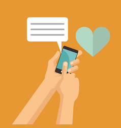 hand hold mobile phone love chat message vector image
