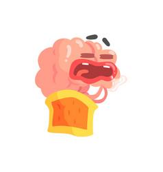 Humanized cartoon brain character sleeping and vector