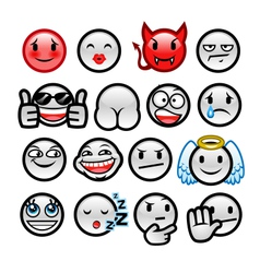 Grey round smileys set two vector