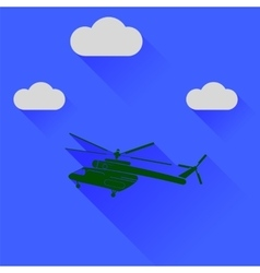 Green helicopter silhouette vector