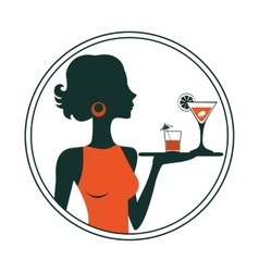 An of a waitress holding cocktails vector