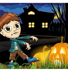 Zombie boy near the haunted house vector