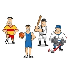 Football basketball baseball hockey players vector