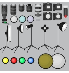 Set of photo studio equipment light soft camera vector