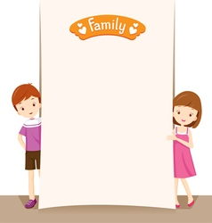 Boy and girl with blank sign vector