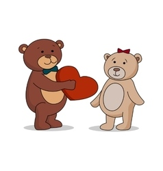 Couple lovers of teddy bears with heart in hands vector